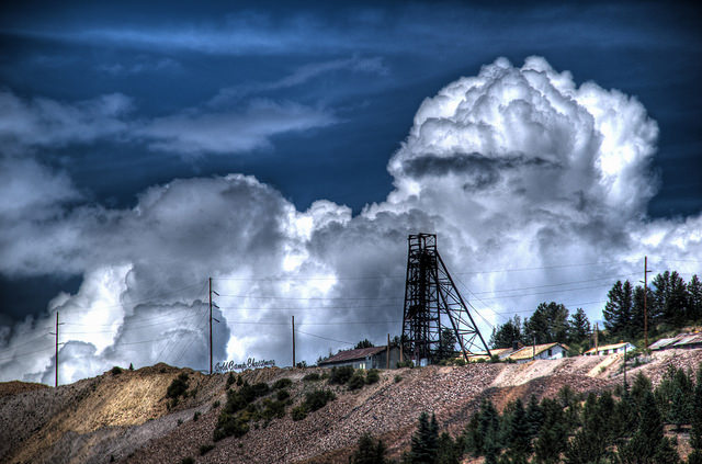 Thunderheads building over Victor, CO mine