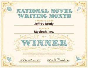 NaNoWriMo 2014 Winner Certificate