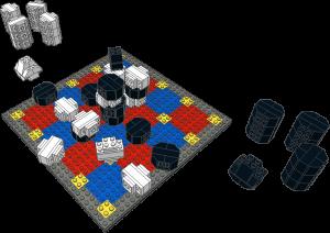 Lego 5x5 Hybrid Tak Game Board & Pieces